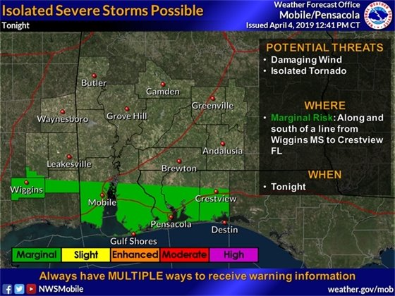 Map showing the possibility for isolated severe storms in Pensacola