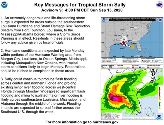 Key messages for Tropical Storm Sally