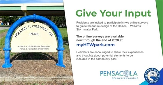 visit myhtwpark.com to complete an online survey for Hollice T. Williams Park