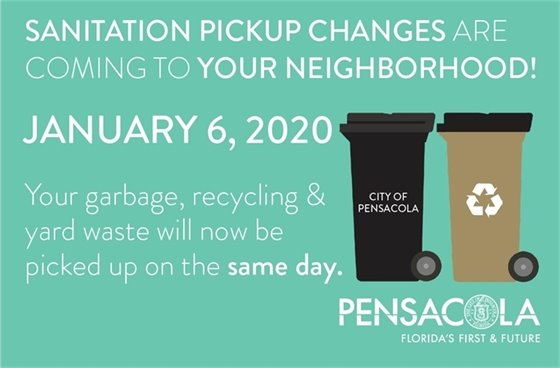 Sanitation pickup changes are coming to your neighborhood! January 6, 2020. Your garbage, recycling & yard waste will now be picked up on the same day.