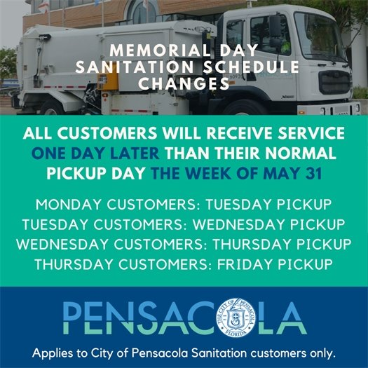 Memorial Day Sanitation schedule changes graphic.