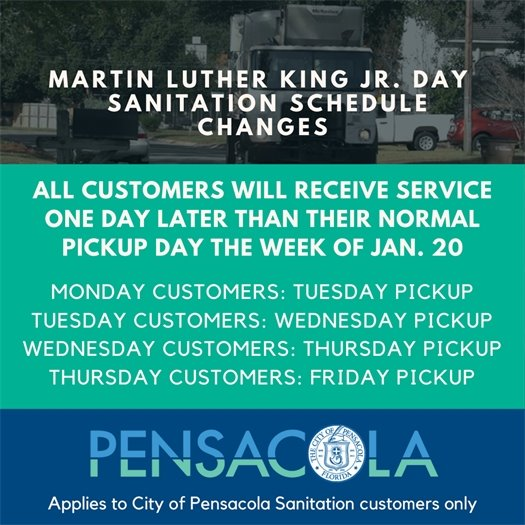 MLK Day sanitation schedule changes: All customers will receive service one day later than their normal pickup day the week of Jan. 20.