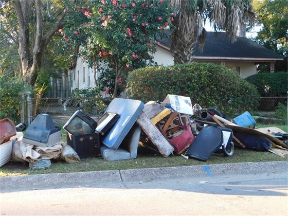Pile of trash waiting for curbside pickup during Jan Pickup