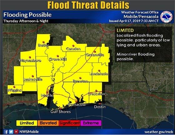 Map of flooding threats