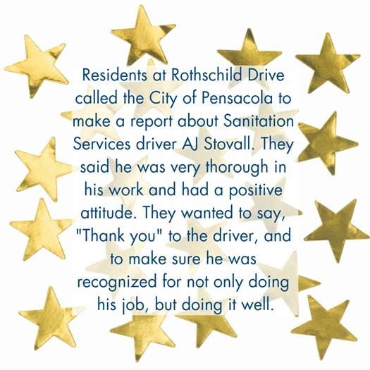 A letter of kudos to a sanitation services driver