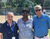 Councilwoman Ann Hill, Councilwoman Jewel Cannada-Wynn and Mayor Grover Robinson at the Morris Court Park ribbon cutting
