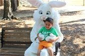A child with the Easter bunny