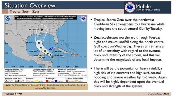 Tropical Storm Zeta forecast