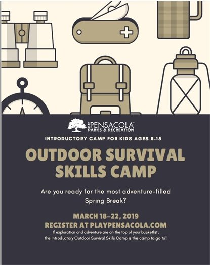 Informational flier on outdoor survival camp
