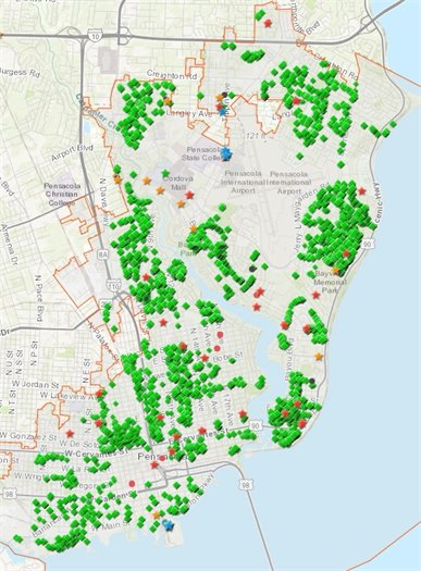 Map of city debris collection locations