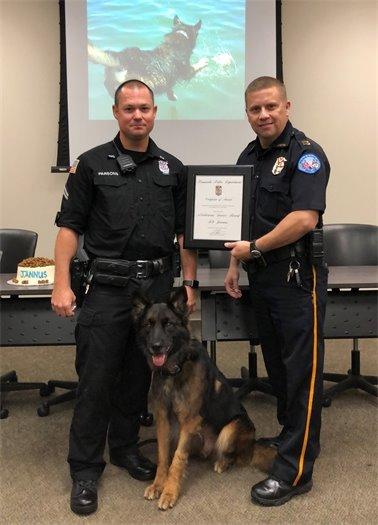 K-9 Jannus celebrates his retirement with Pensacola Police Department
