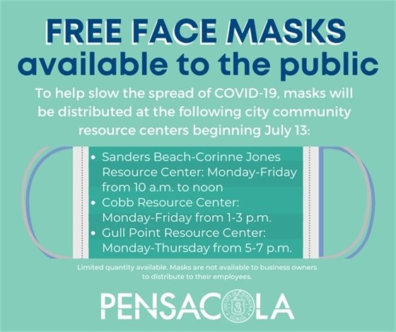In an effort to help slow the spread of COVID-19, the City of Pensacola is making 20,000 masks available to the public free of charge at several city community centers beginning Monday, July 13.