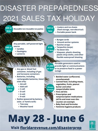 Sales tax holiday list