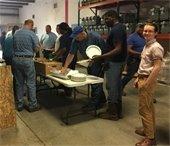 Pensacola Energy employees enjoy breakfast at work