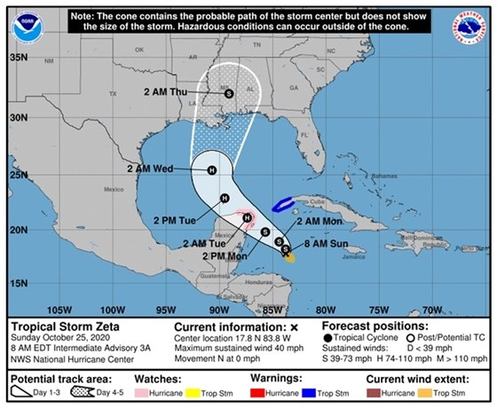 Tropical Storm Zeta map