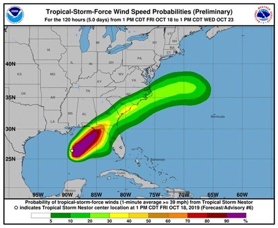 Tropical Storm Nestor wind speeds, visit nhc.noaa.gov for details