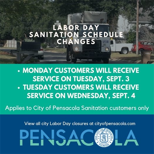All City Sanitation customers who normally receive service on Mondays and Tuesdays will experience a change of schedule for Labor Day, which applies to garbage, recycling and yard waste pickup. Customers who normally receive service on Mondays will receive service on Tuesday, Sept. 3. Customers who normally receive service on Tuesdays will receive service on Wednesday, Sept. 4.  All other customers will receive service on their normal pickup day.