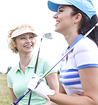 Two female golfers