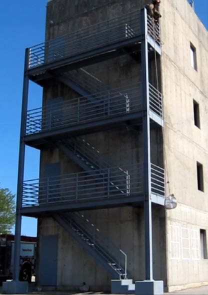Exterior of four-story building used for testing
