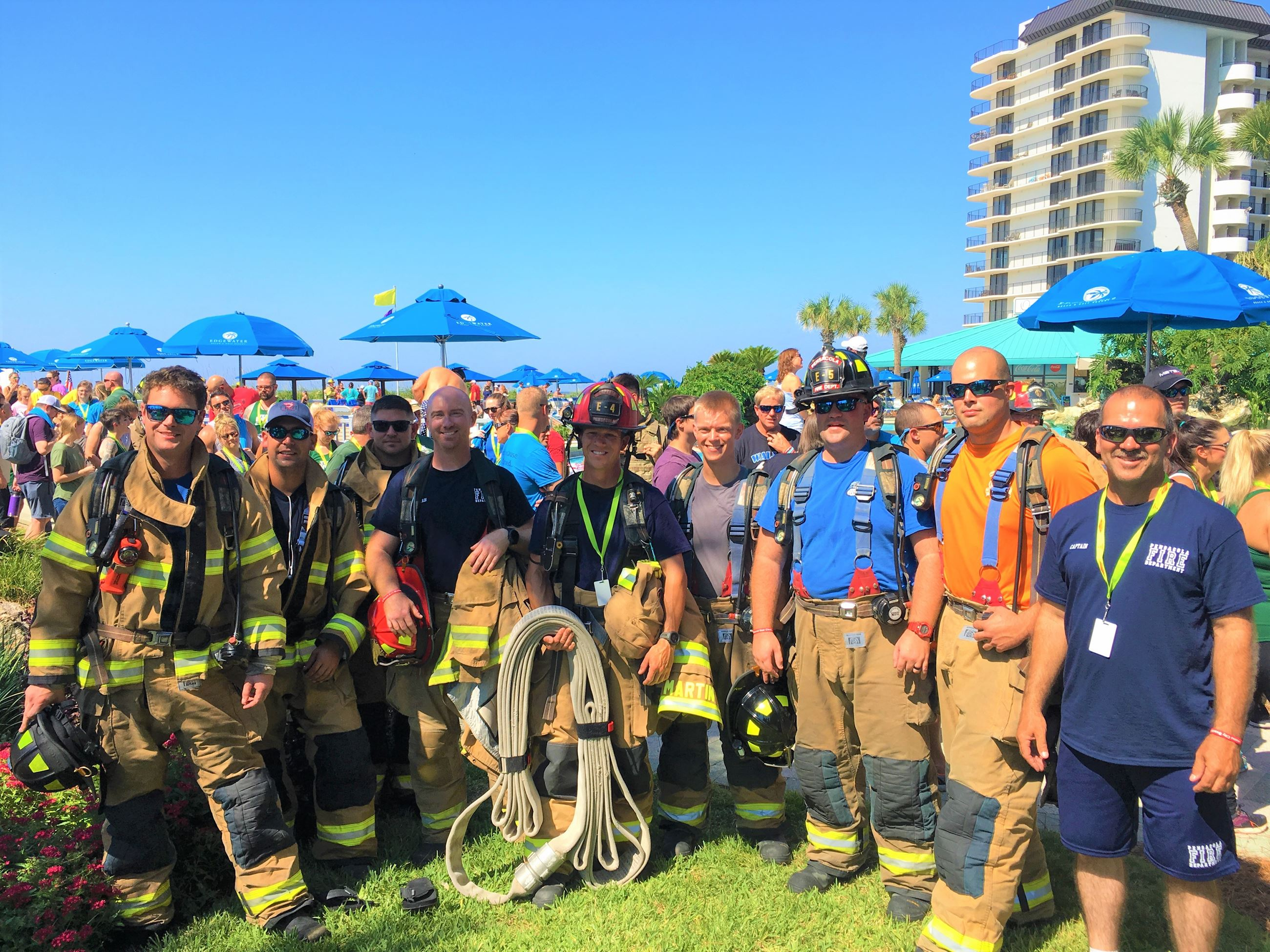 Members of the Pensacola Fire Department after participating in the 2019 Panama City Beach 9/11 Memo
