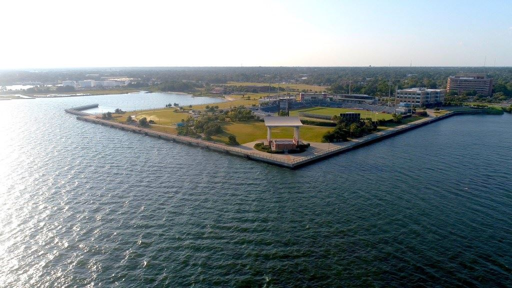 Aerial view of Community Maritime Park and Pensacola Bay