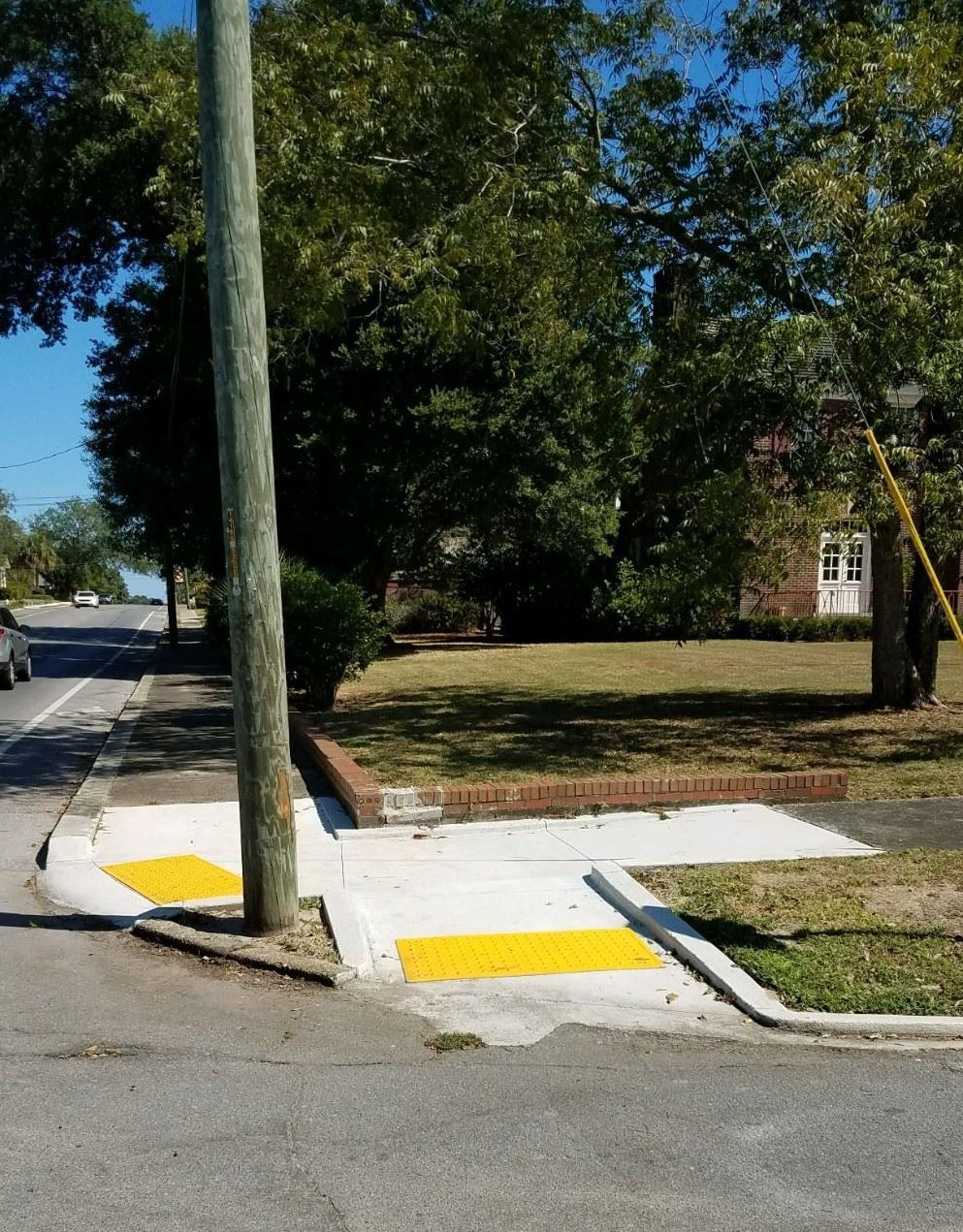A new curb ramp on a sidewalk