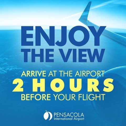 Pensacola International Airport: arrive two hours prior to boarding time