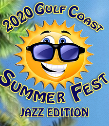 Gulf Coast Jazz Fest Logo with Smiley Faced Sun Wearing SunGlasses