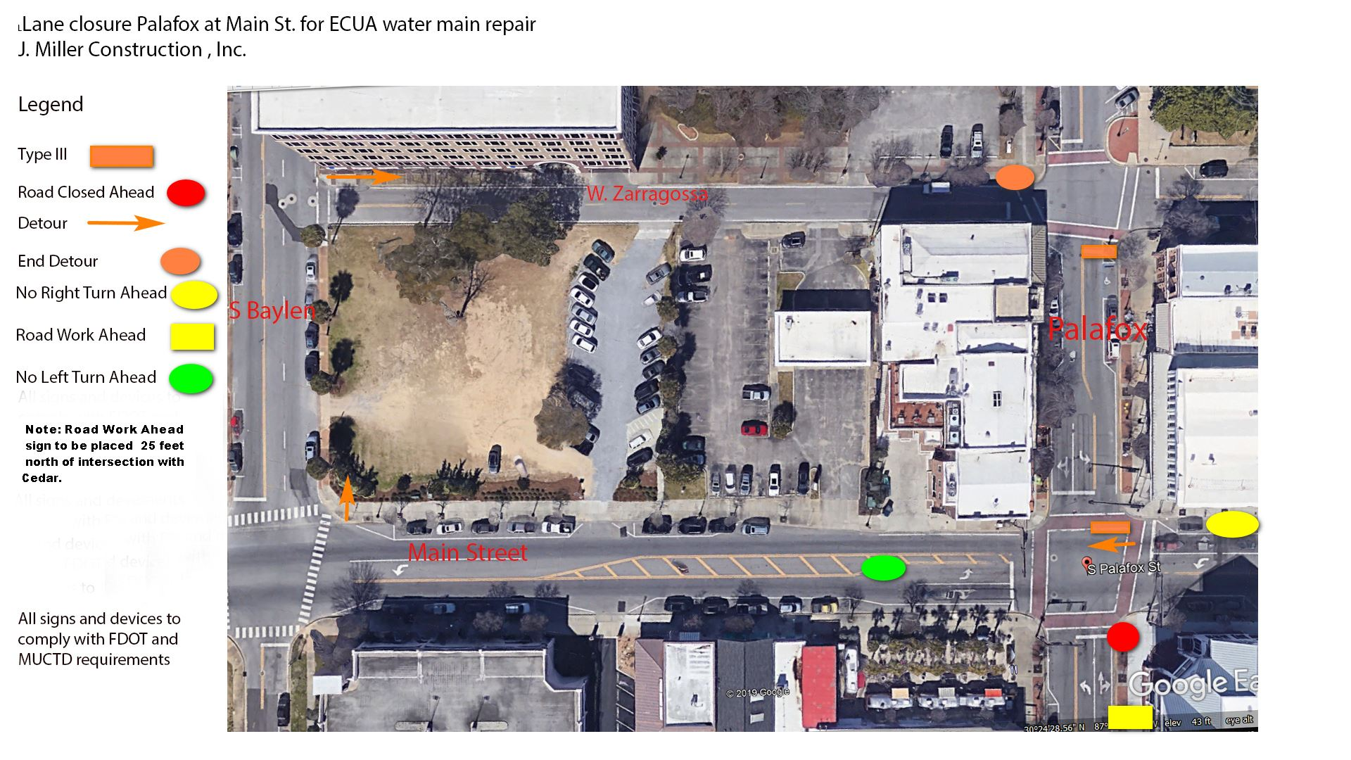 Palafox lane closure map