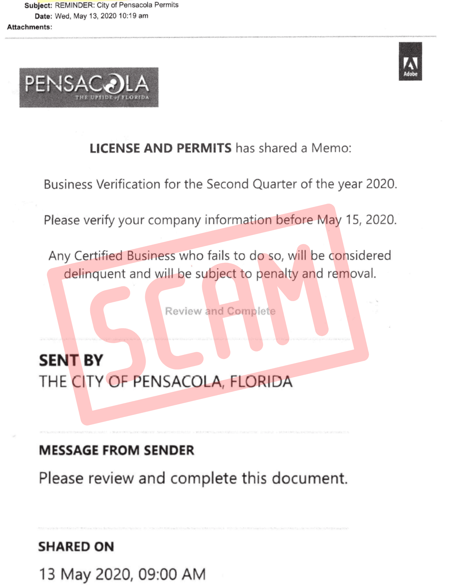 The City of Pensacola has received reports of a fraudulent email sent to local contractors this week