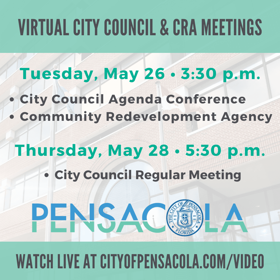 The Pensacola City Council and Community Redevelopment Agency will host three meetings next week: th