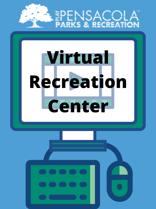 "Cartoon computer with keyboard and mouse, with the words ""Virtual Recreation Center"" and parks"