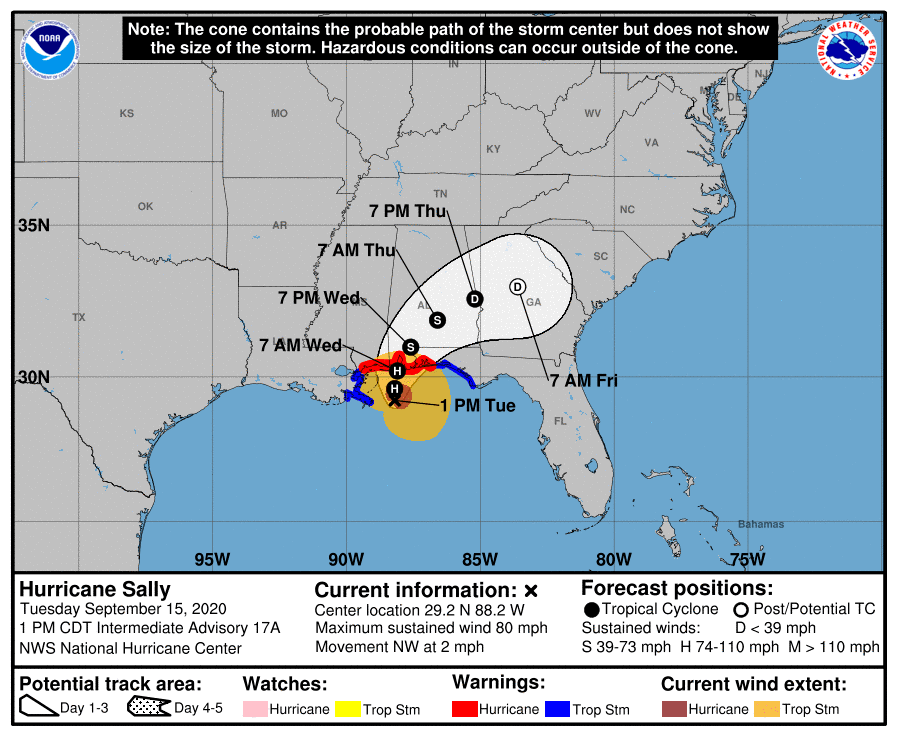 Sally 1 pm tuesday map