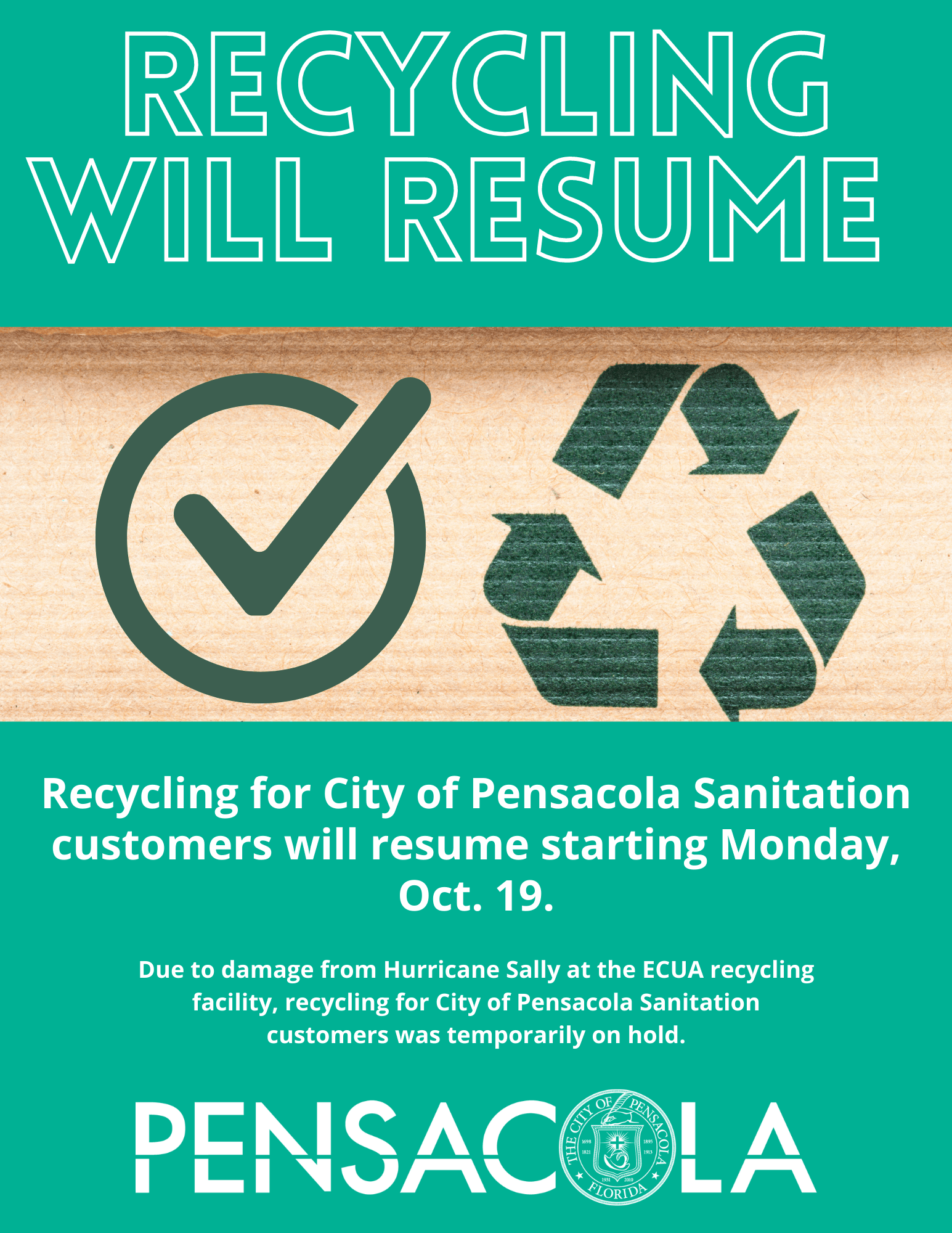 Recycling for City of Pensacola Sanitation customers will resume Monday, Oct. 19