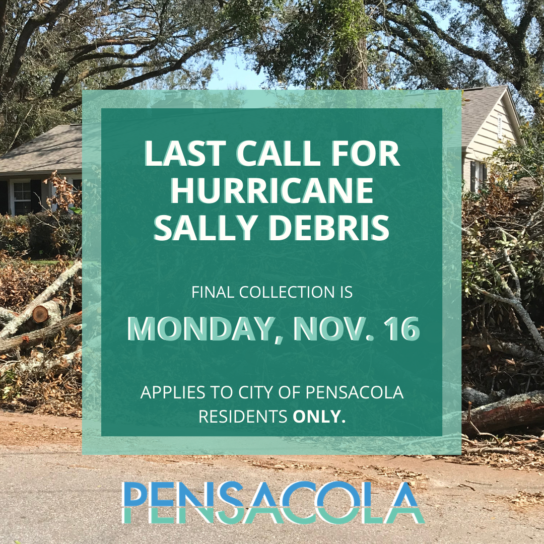Final debris collection scheduled for Monday, Nov. 16 in the city of pensacola