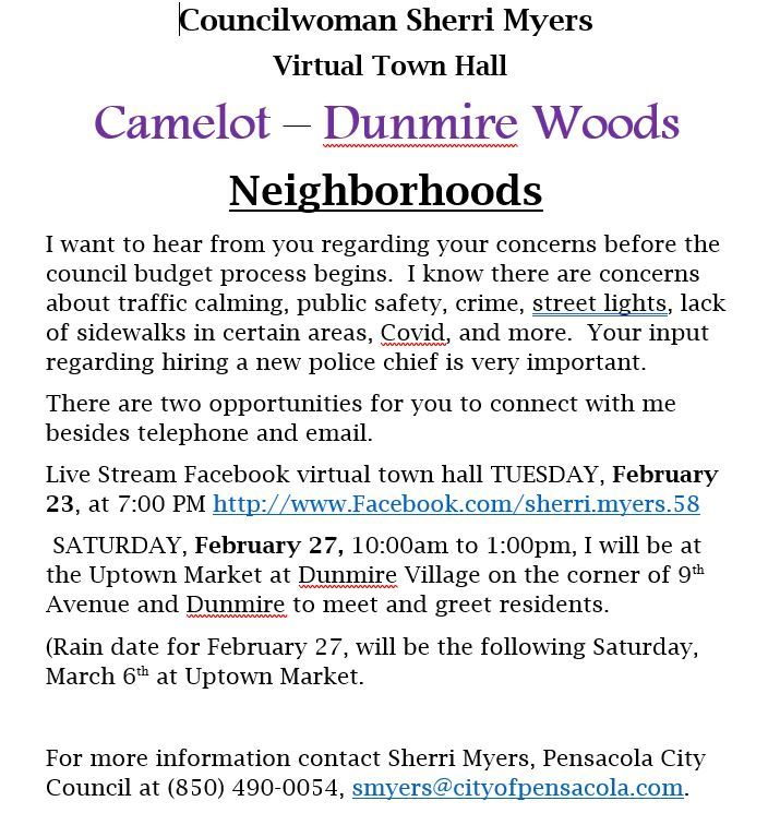 Sherri Myers Virual Town Hall Camelot - Dunmire Woods Neighborhoods (JPG)