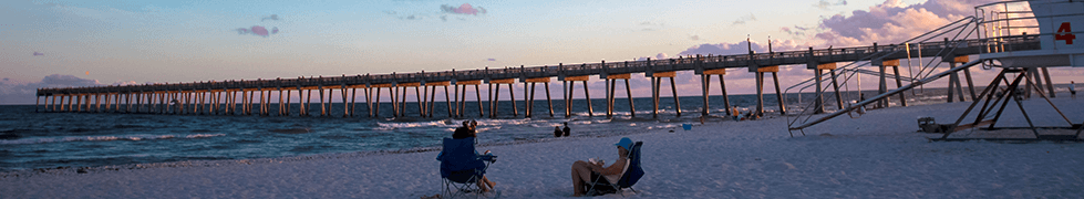 People relaxing at the beach in front of the Pier