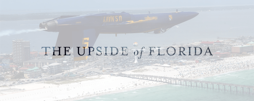 Blue Angel flying upside down overlaid by The Upside of Florida tagline