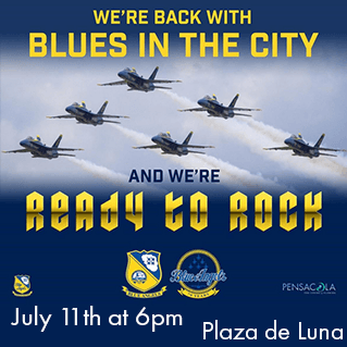 Blues in the City on July 11th at 6pm, Plaza de Luna Park in Pensacola