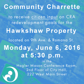 Public Charrette about Hawkshaw Property on June 6 2016, City Hall at 5:30 pm
